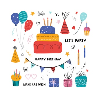 Birthday party isolated elements set. hand drawn illustrations