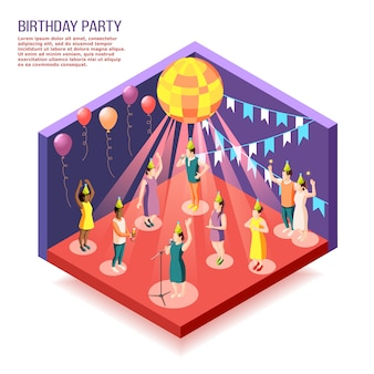 Birthday party isometric illustration with people gathered together in decorated hall to celebrate holiday