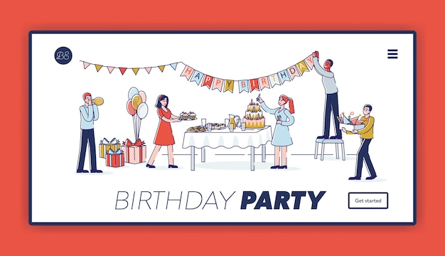 Birthday party landing page template with happy cartoon characters decorating room.