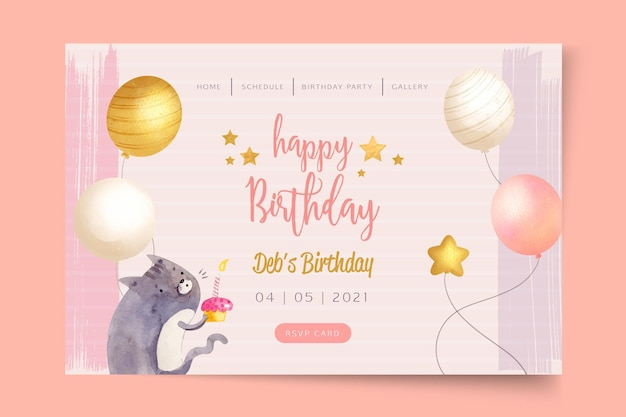 Birthday party landing page template
