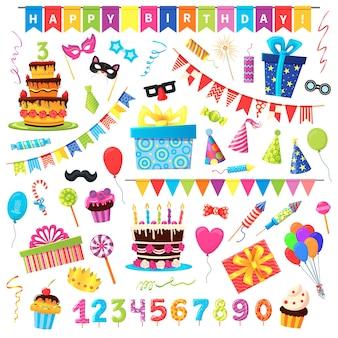 Набор иллюстраций объектов вечеринки по случаю дня рождения