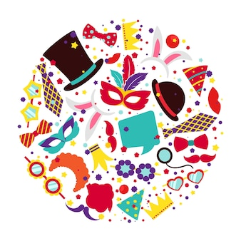 サークル状にセットされた誕生日パーティーのプリクラ小道具。サインまたはシンボルの帽子マスクとバニーの耳、アイコン抽象カラフル、ベクトルイラスト