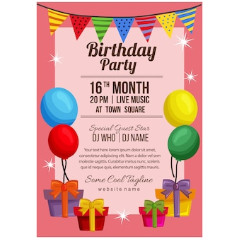 Birthday party poster template with balloon flag present