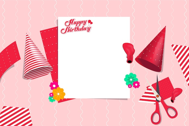 Birthday party preparation vector template design element