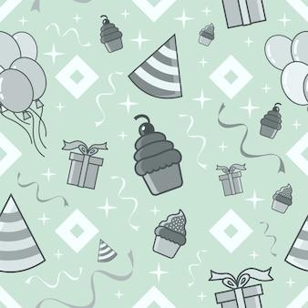 생일 파티 완벽 한 패턴 밝은 파란색 테마 벡터