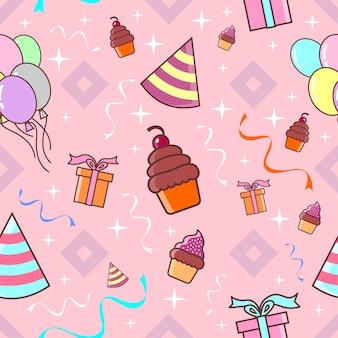 생일 파티 완벽 한 패턴 핑크 테마 벡터