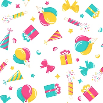 Birthday party seamless pattern with balloons, poppers, hats, gift boxes and bows on white background. vector cartoon background for carnival, anniversary celebration and festive events