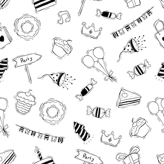 Birthday party in seamless pattern with black and white doodle style