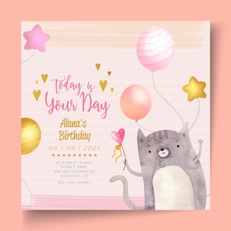 Birthday party square flyer template