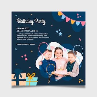 Modello di volantino quadrato festa di compleanno
