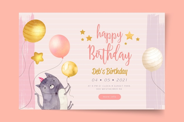 Birthday party template banner