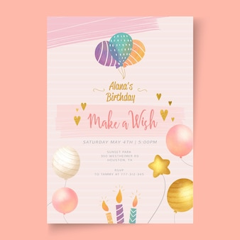 Birthday party template card
