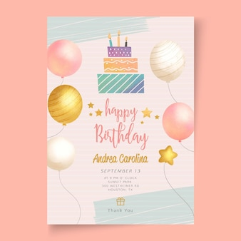 Birthday party template poster