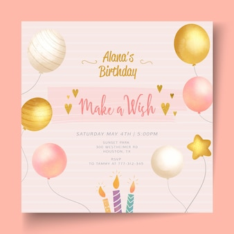 Birthday party template square flyer