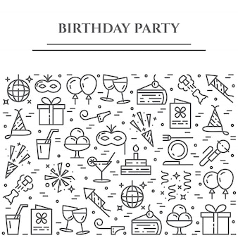 Birthday party theme horizontal banner.