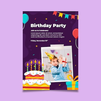 Birthday party vertical flyer template