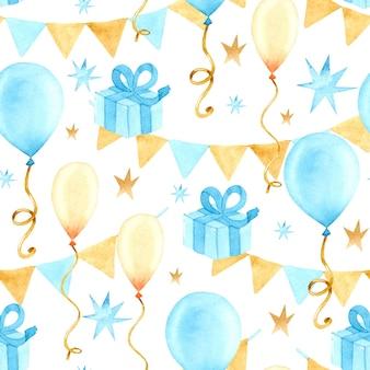 생일 파티 수채화 원활한 패턴