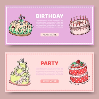 Birthday party or wedding anniversary set of banners with birthday cakes