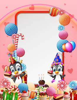 Birthday penguin with candies and pink background
