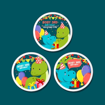 Birthday pin template with cute jurassic theme illustration