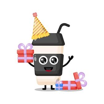 생일 플라스틱 커피 컵 귀여운 캐릭터 마스코트