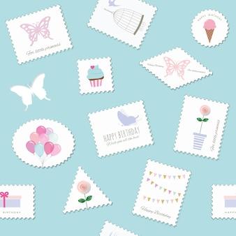 Birthday postage seamless pattern
