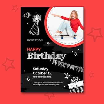 Birthday poster template with photo