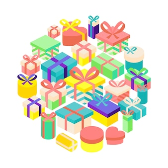 Birthday present set. vector illustration of happy greetings isolated objects.