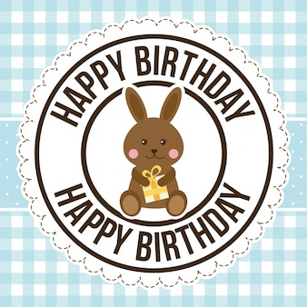 Birthday rabbit over pattern, happy birthday greeting card