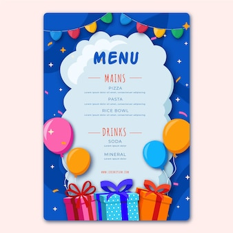 Birthday restaurant menu template with illustrations