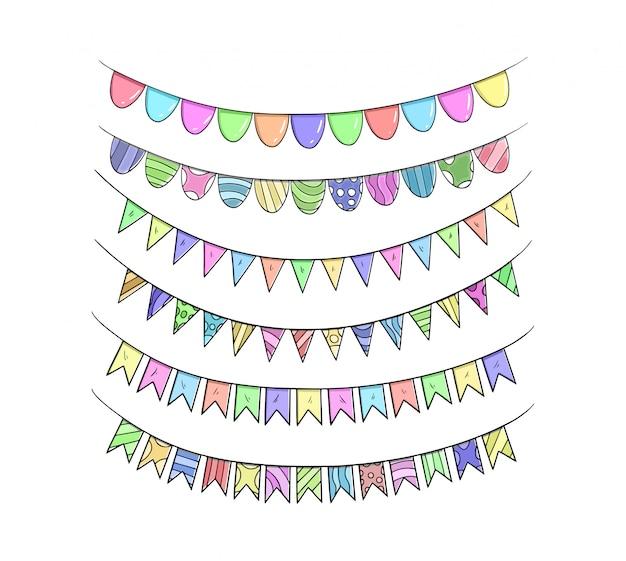 Birthday ribbon sets hand drawing colorful illustration
