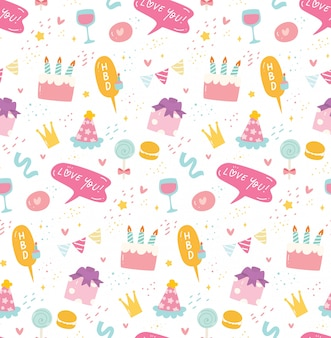 Birthday seamless background in kawaii style