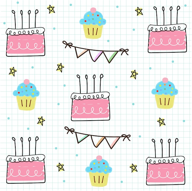 Birthday seamless on grid paper