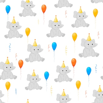 Birthday seamless multicolored pattern with elephants on a white background