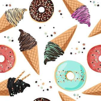 Birthday seamless pattern ice cream and donuts.