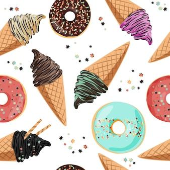 Birthday seamless pattern ice cream and donuts.