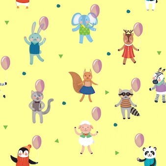 Birthday seamless pattern with animals