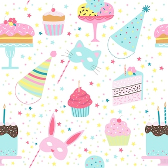 Birthday seamless pattern with cakes cupcakes ice cream caps animal masks on steaks