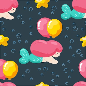 Birthday seamless pattern with cute mermaid  and balloons.