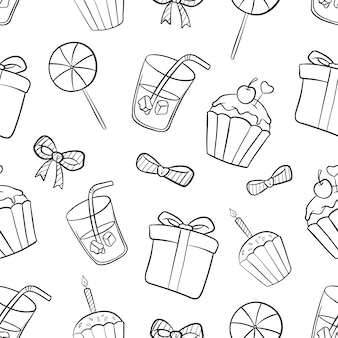 Birthday seamless pattern with hand drawn or doodle style on white