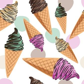 お菓子、アイスクリーム、ドーナツ、キャンディーの誕生日シームレスパターン。