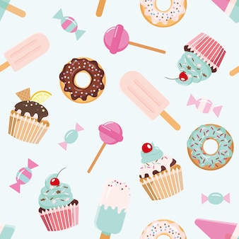 Birthday seamless pattern with sweets