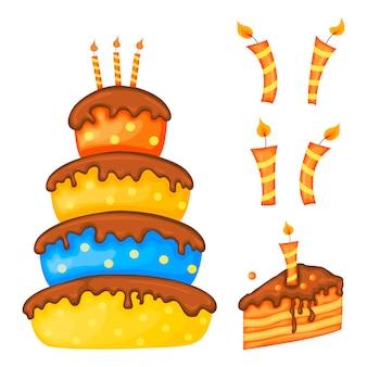 ホリデーカードやケーキ付きチラシのバースデーセット。漫画のスタイル。ベクター。