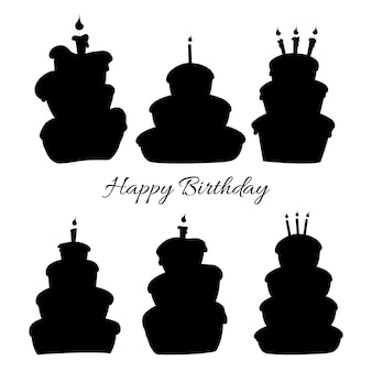 Birthday set of silhouettes with traditional attributes on white background. cartoon style. vector.