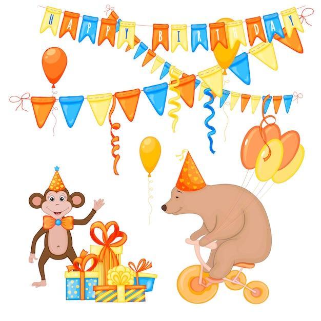 흰색 바탕에 귀여운 원숭이와 곰이 있는 생일 세트. 만화 스타일입니다. 벡터.