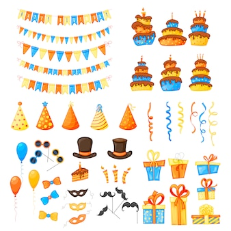 Birthday set with holiday items on a white background