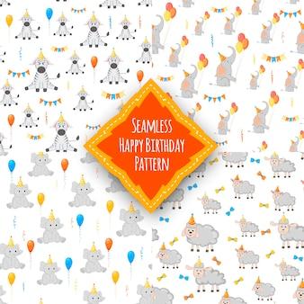 День рождения набор с бесшовные разноцветные узоры на белом фоне. мультяшный стиль. вектор.