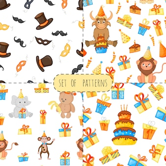 Birthday set with seamless multicolored patterns on a white background. cartoon style. vector.