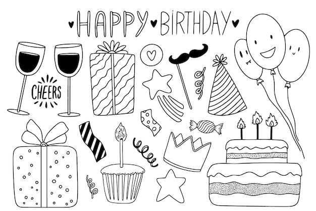 Birthday sketched collection with cute doodle elements. greeting card outline decoration for happy holidays.
