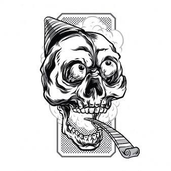 Birthday skull black and white illustration